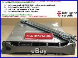 Dell PowerVault MD3200 48TB 2x Controllers 2x 600W 12x 4TB SAS SAN Storage Array