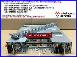 Dell PowerVault MD3620F 2x 8GB FC Controller 2x PSU 24x SFF SAN Storage Array